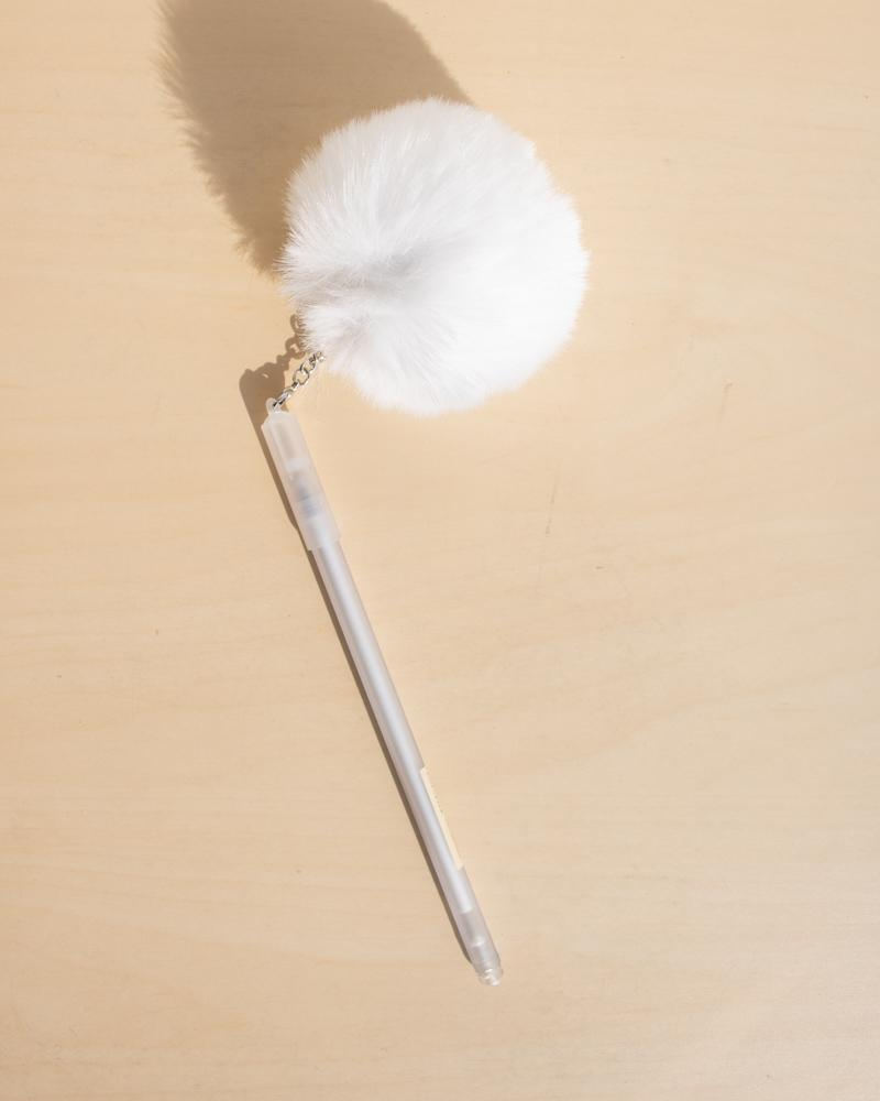 Shop Fluffy Puffball Gel Pens, stationery accessories, white