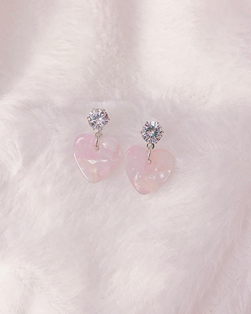 Dainty Crystal Heart Stud Earrings