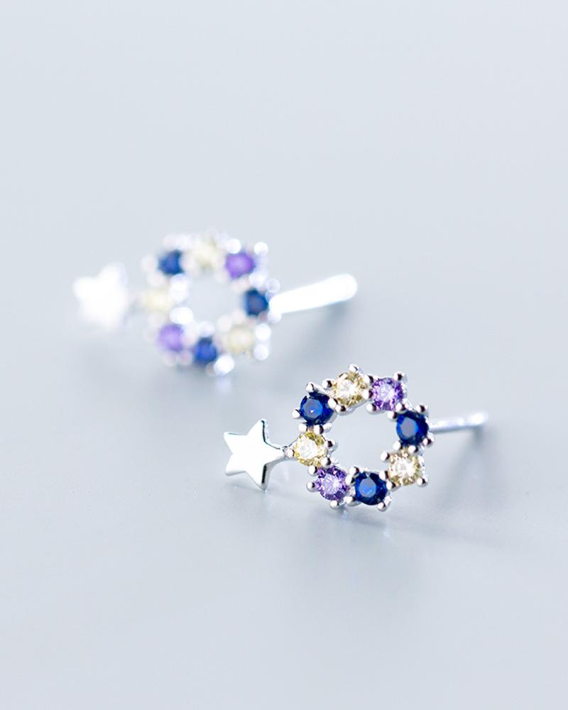 shop sukoshi, silver Midnight Star Wreath Stud Earrings, sterling jewelry collection
