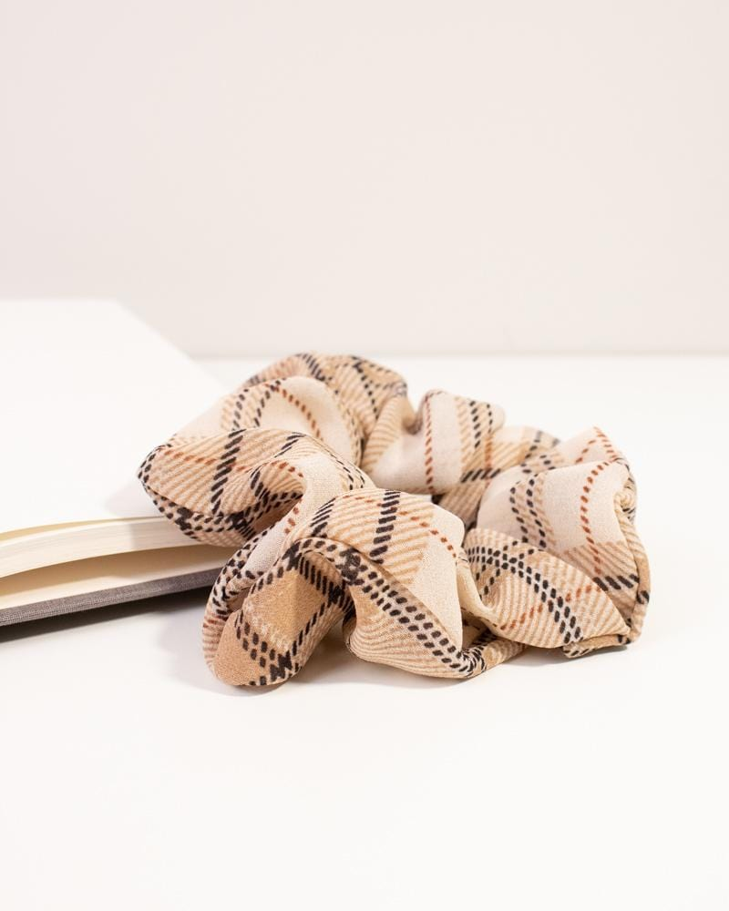 Modern Plaid Scrunchie - camel