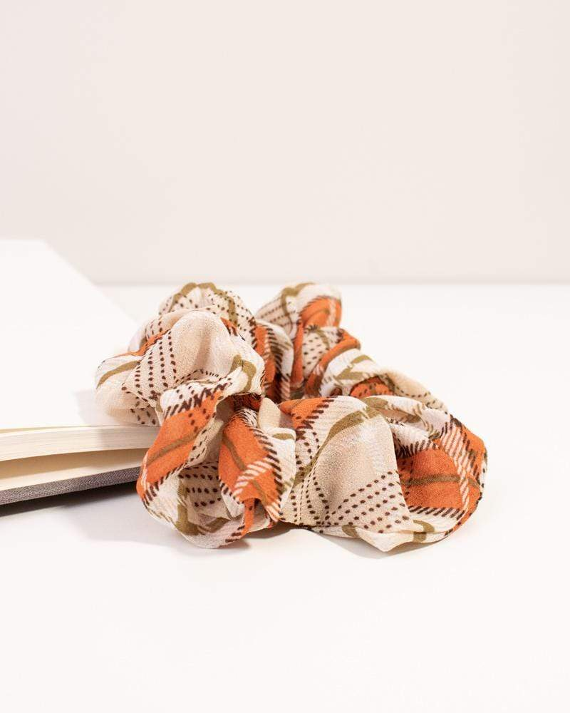 Modern Plaid Scrunchie - orange and beige