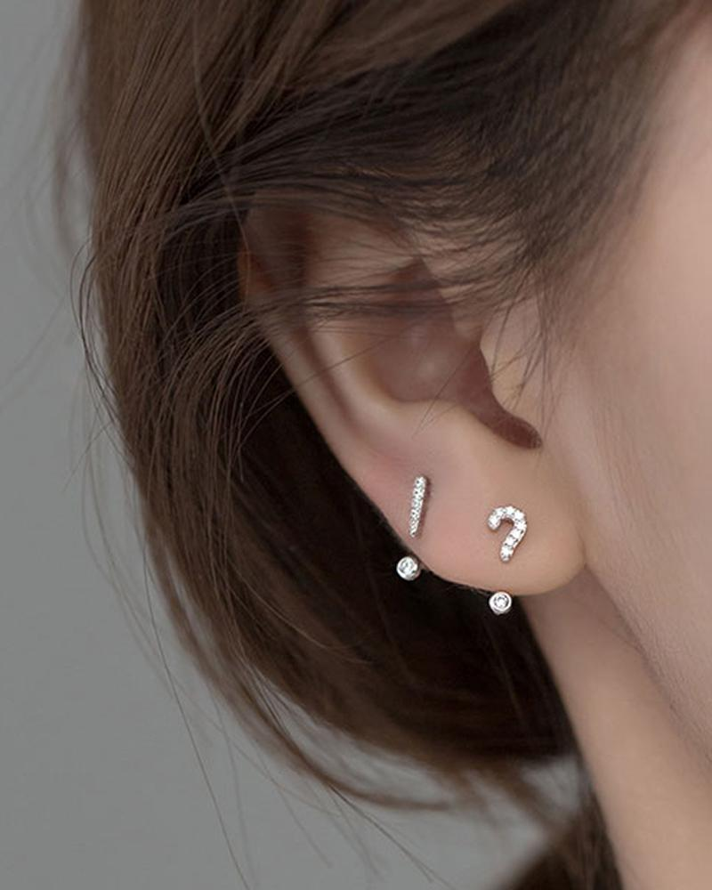 Punctuation Rhinestone Stud Earrings on ear