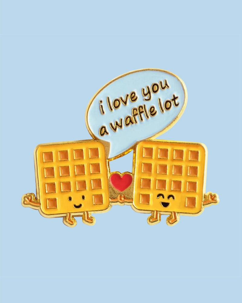 Queenie's Cards I Love You a Waffle a Lot Enamel Pin