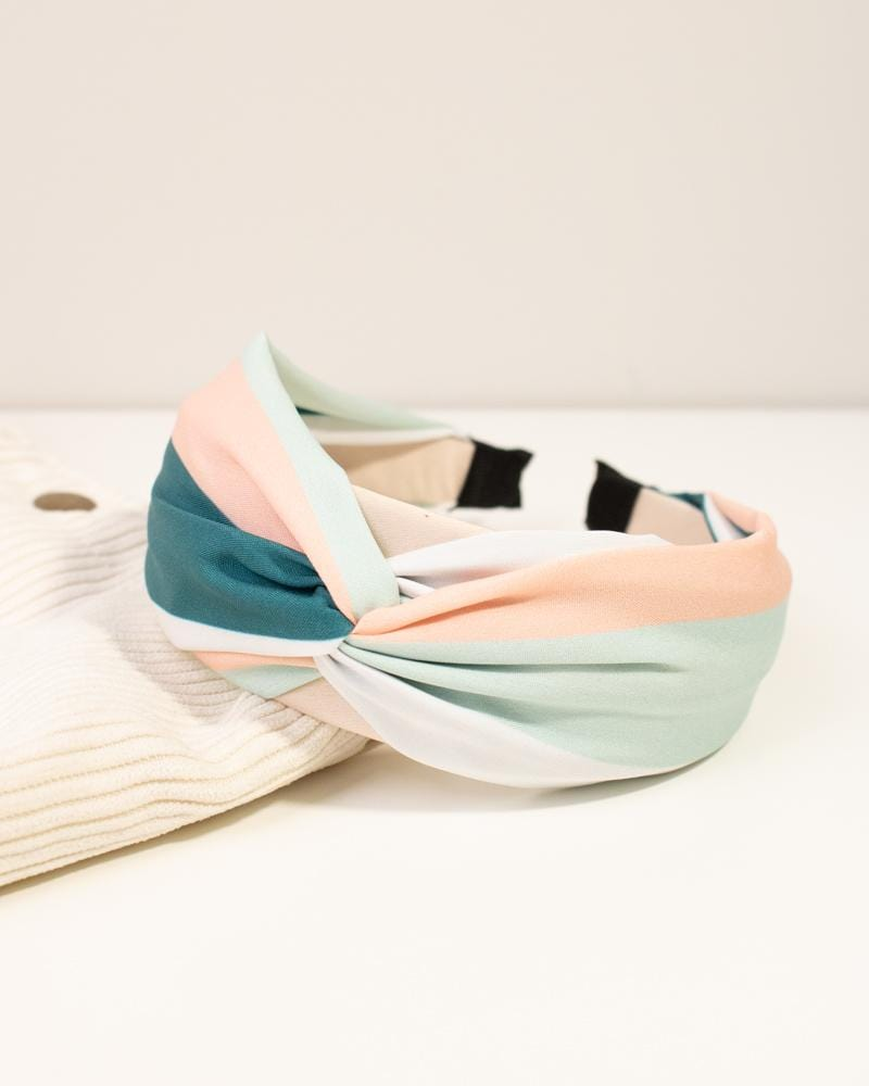 Shop Retro Colour Block Headband in Pink & Teal