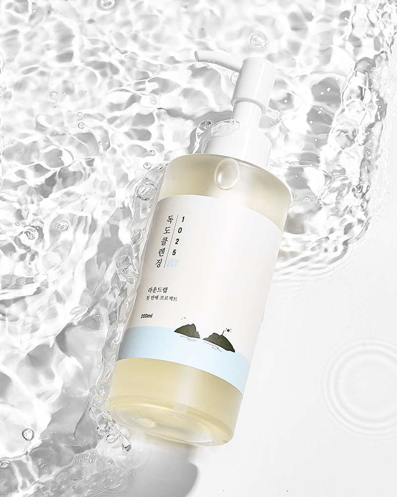 ROUND LAB 1025 Dokdo Cleansing Oil submerged in clear water