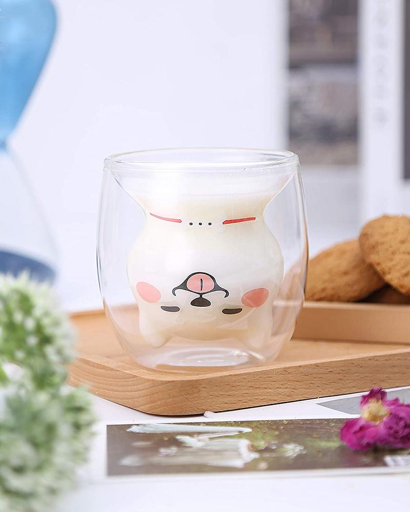 Shiba Double Wall Glass Cup Transparent with milk in use