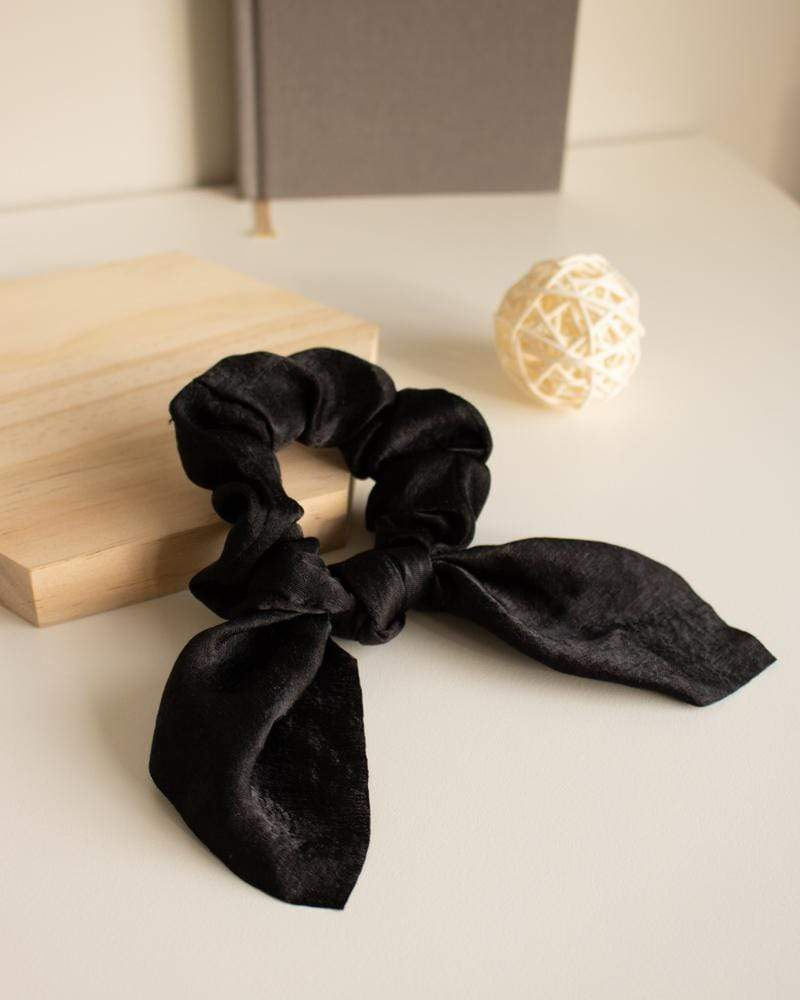 Shop Silk Bow-Tie Scrunchies, black