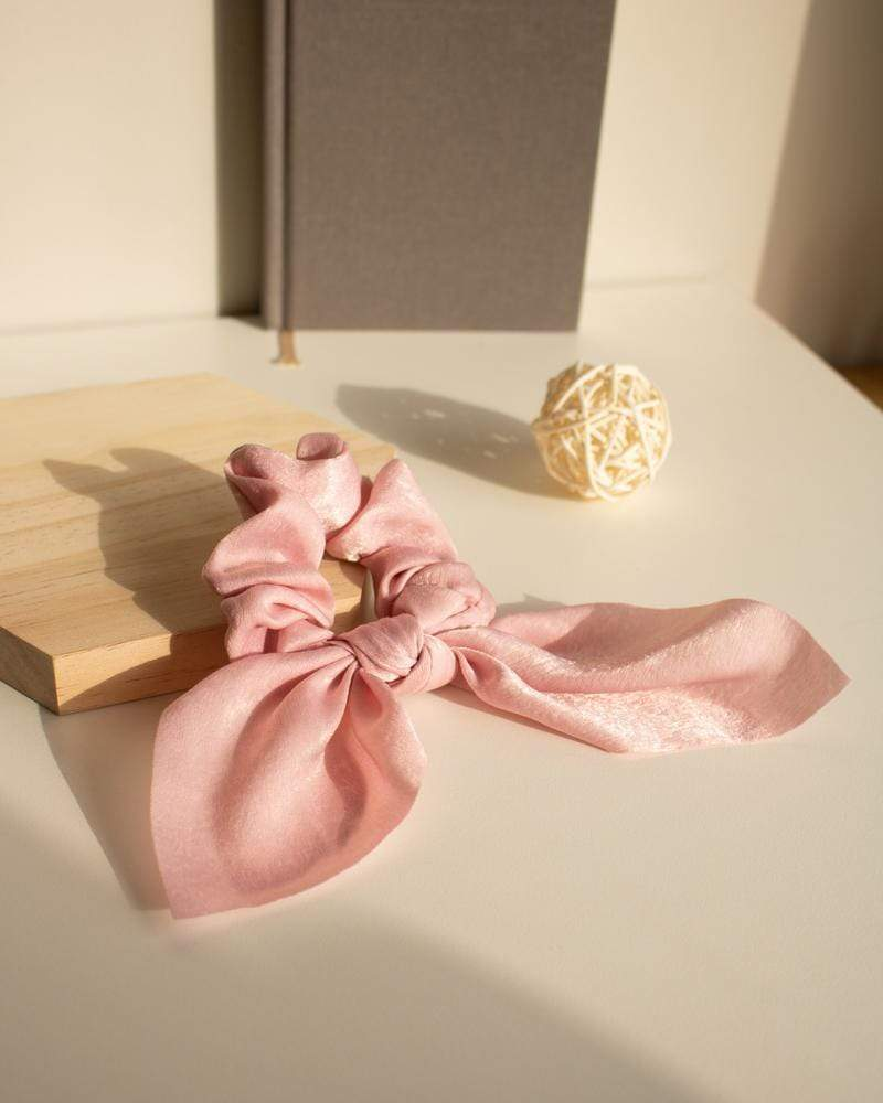 Shop Silk Bow-Tie Scrunchies, blush pink