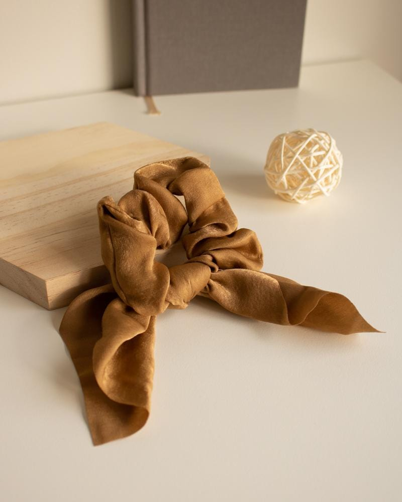 Shop Silk Bow-Tie Scrunchies, caramel