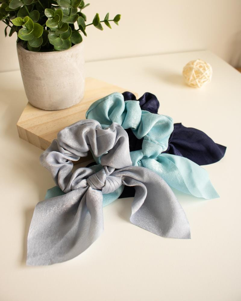 Shop Silk Bow-Tie Scrunchies, slate blue, lake blue, navy