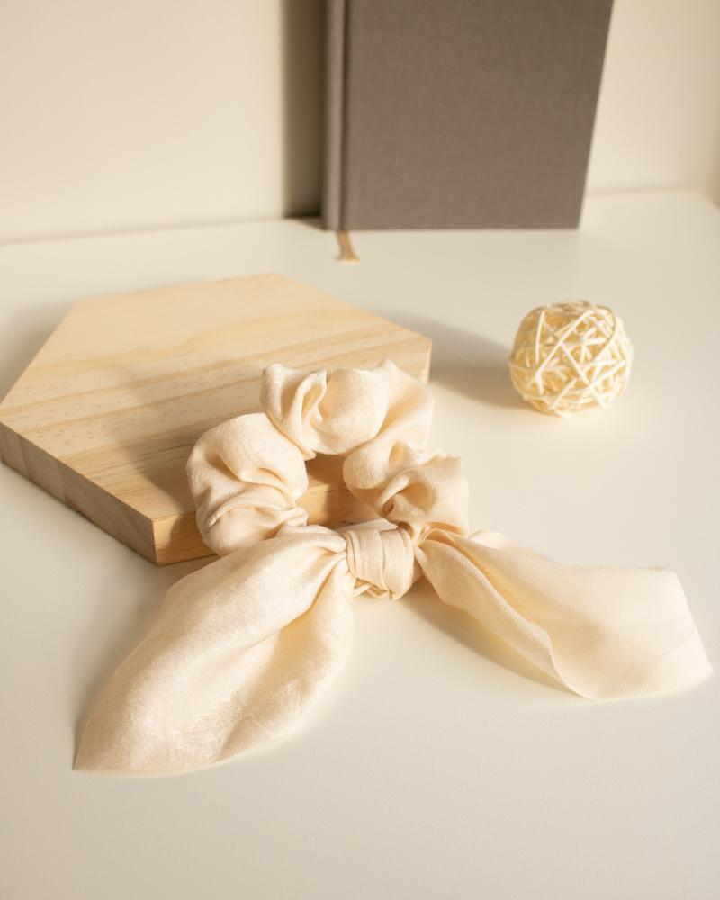 Shop Silk Bow-Tie Scrunchies, cream white