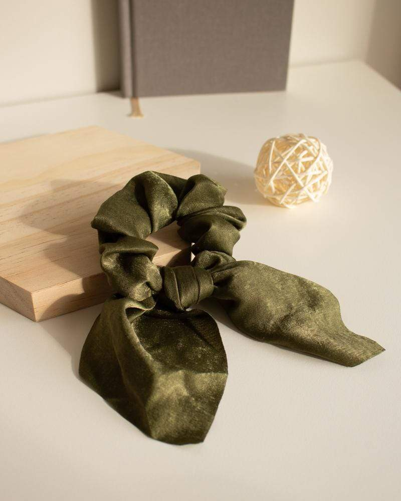 Shop Silk Bow-Tie Scrunchies, forest