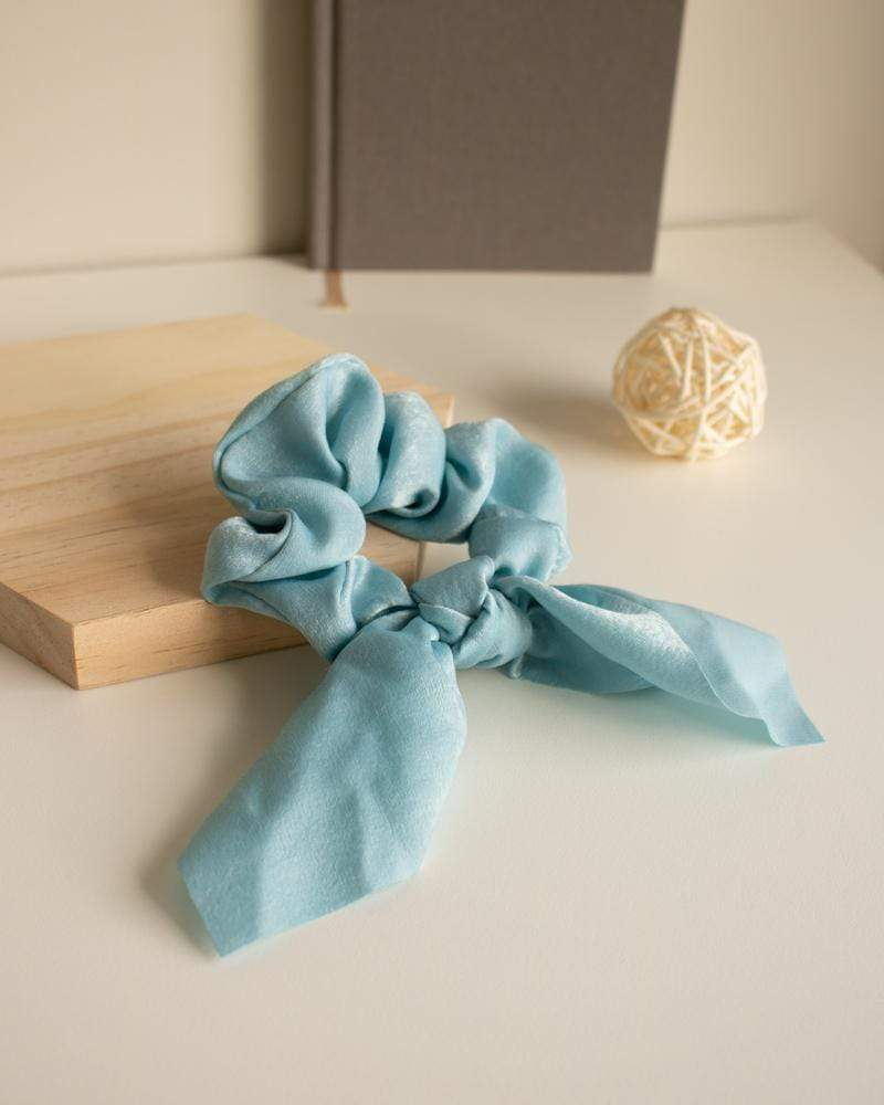 Shop Silk Bow-Tie Scrunchies, lake blue