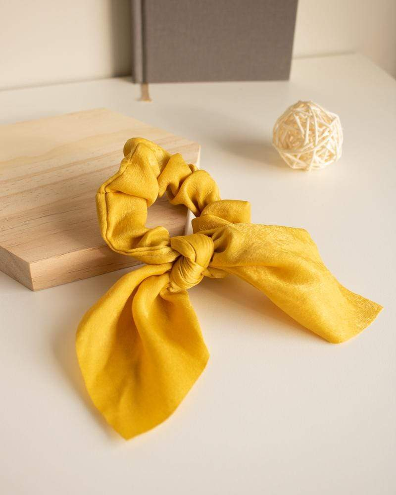 Shop Silk Bow-Tie Scrunchies, mustard