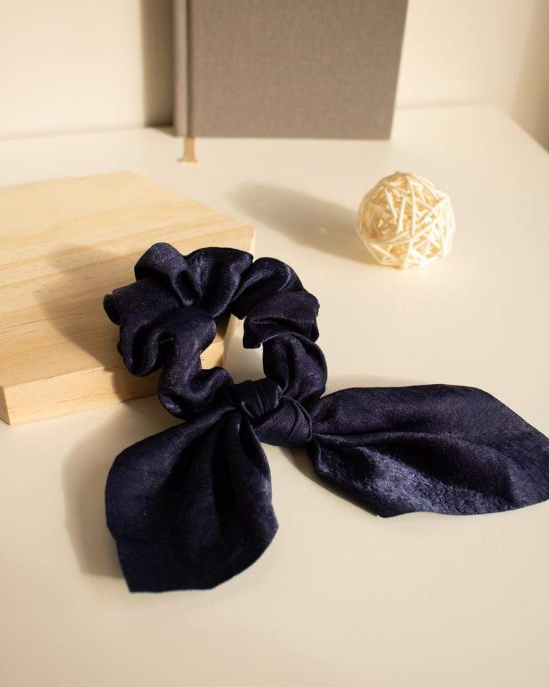 Shop Silk Bow-Tie Scrunchies, navy