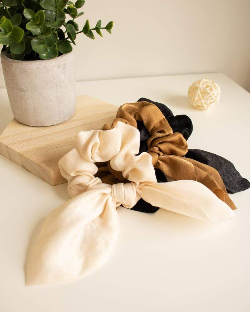 Shop Silk Bow-Tie Scrunchies, cream white, caramel, black