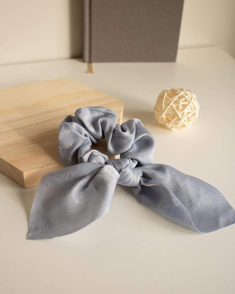 Shop Silk Bow-Tie Scrunchies, slate blue