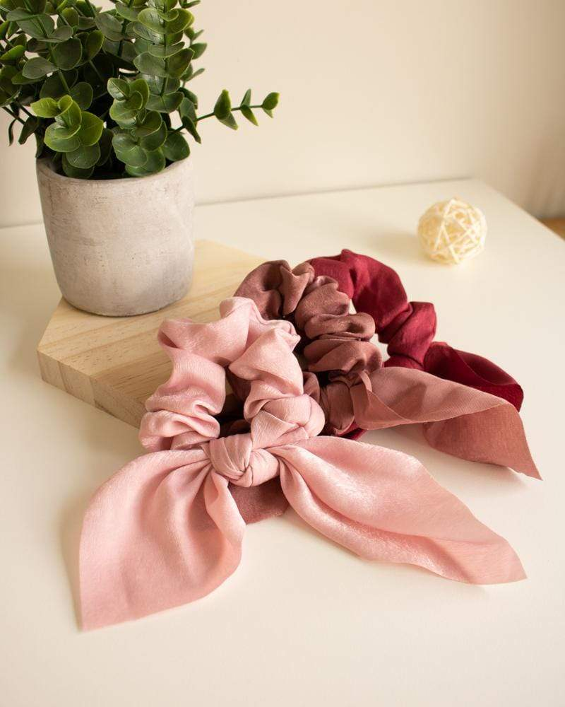 Shop Silk Bow-Tie Scrunchies, blush pink, dusty rose, red