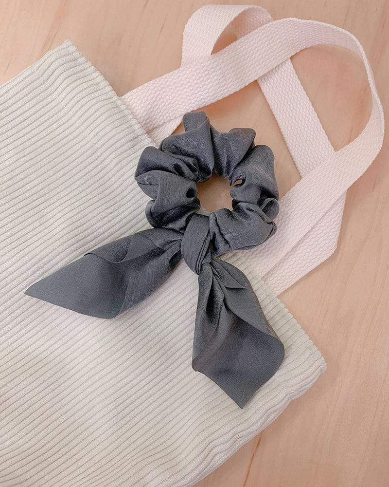 Shop Silk Bow-Tie Scrunchies, metal grey