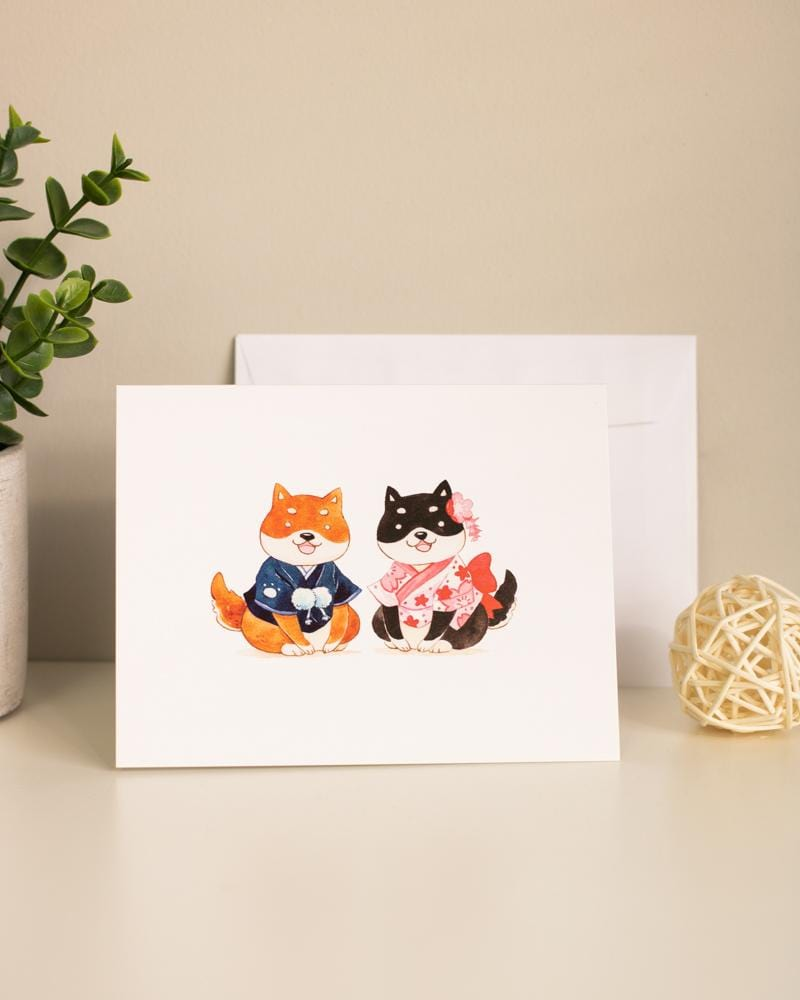 Shop SUKOSHI x PENELOPE Shibas in Kimonos Greeting Card