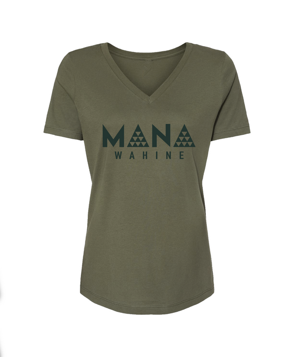 Mana Wahine V-Neck Tee Military Green