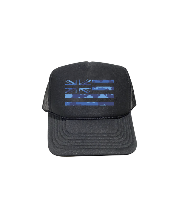 Blue Camo Hae Hawaii Trucker Hat