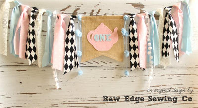 Alice In Wonderland Highchair Banner 1st Birthday Party Decoration - Raw Edge Sewing Co