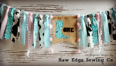 Cowgirl Highchair Banner 1st Birthday Party Decoration - Raw Edge Sewing Co