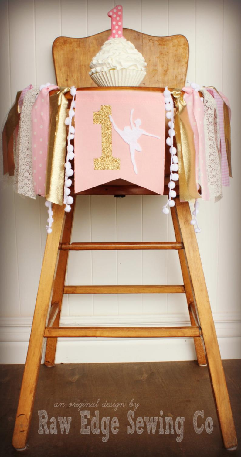 Ballerina Highchair Banner 1st Birthday Party Decoration - Raw Edge Sewing Co