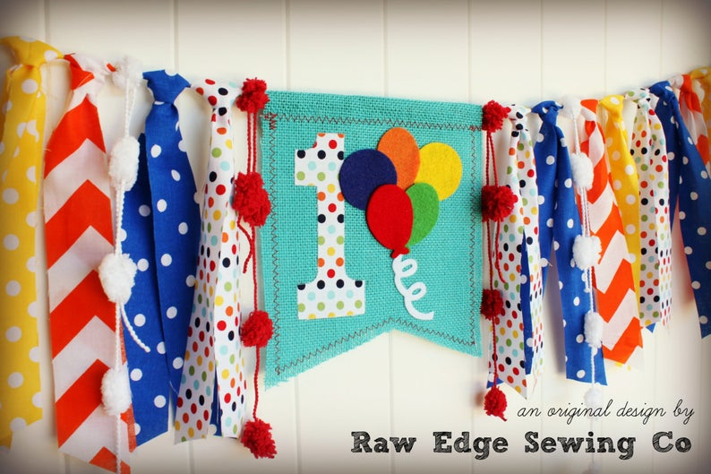 Balloons Highchair Banner 1st Birthday Party Decoration - Raw Edge Sewing Co