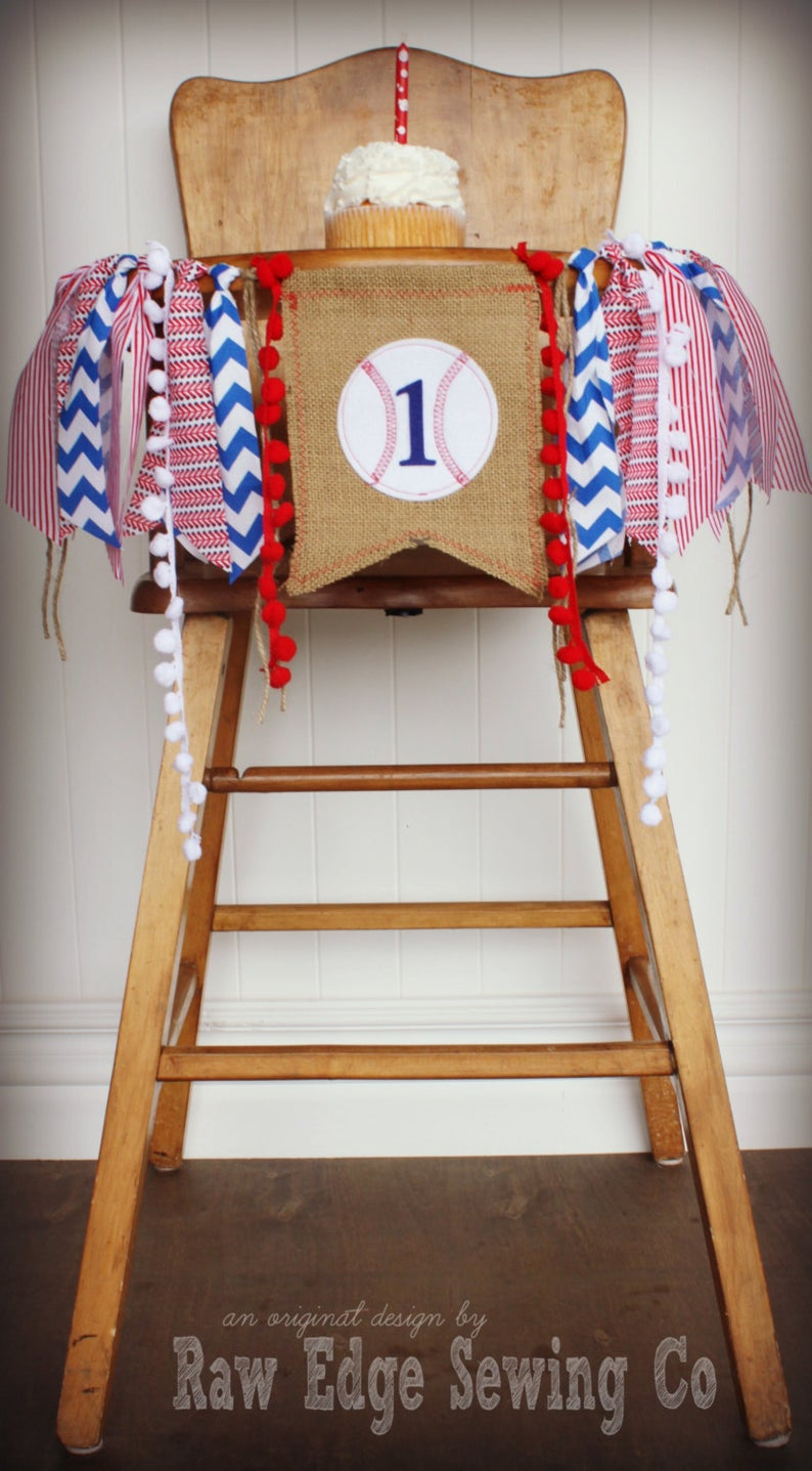 Baseball Highchair Banner 1st Birthday Party Decoration - Raw Edge Sewing Co