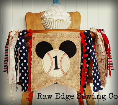 Mickey Baseball Highchair Banner 1st Birthday Party Decoration - Raw Edge Sewing Co