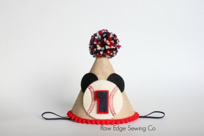 Baseball Mickey Hat First Birthday - Raw Edge Sewing Co