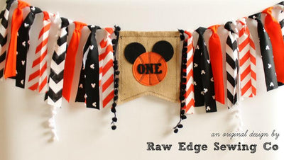 Basketball Mickey Highchair Banner 1st Birthday Party Decoration - Raw Edge Sewing Co