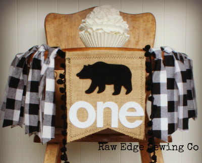 Bear Highchair Banner 1st Birthday Party Decoration - Raw Edge Sewing Co