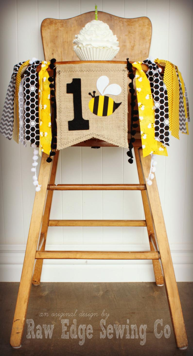 Bee Highchair Banner 1st Birthday Party Decoration - Raw Edge Sewing Co