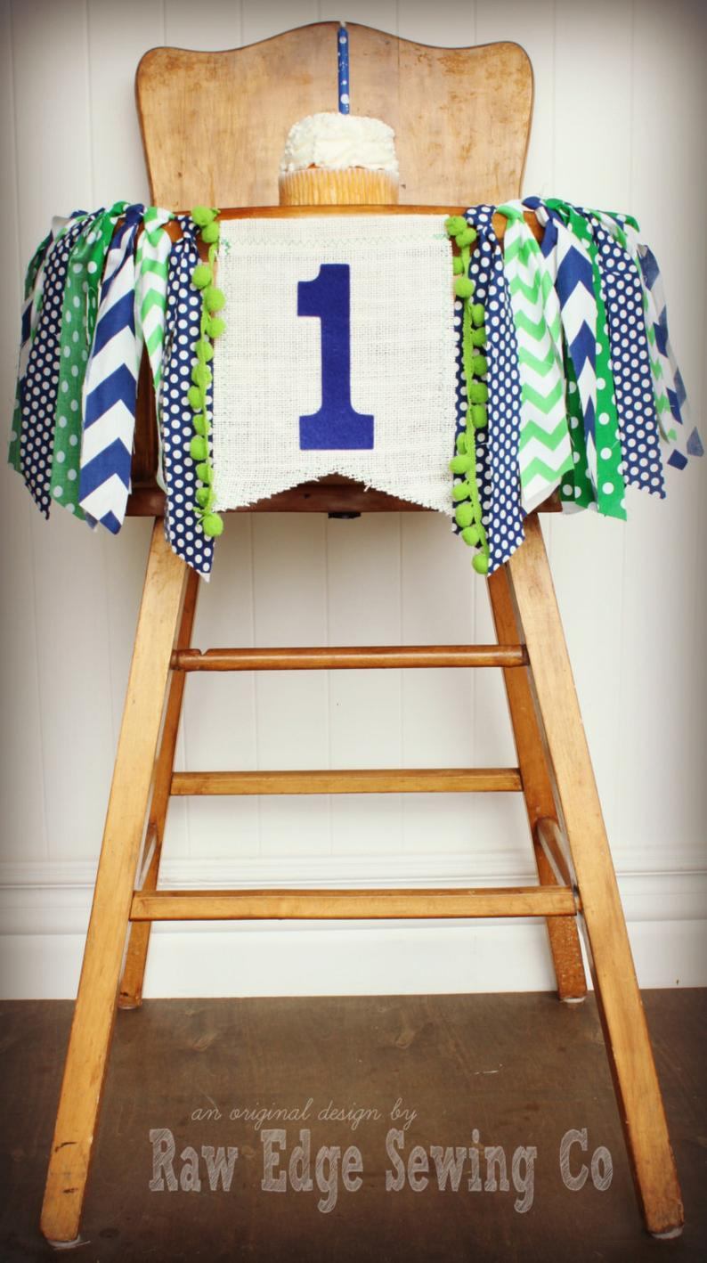Blue And Green Boy Highchair Banner 1st Birthday Party Decoration - Raw Edge Sewing Co