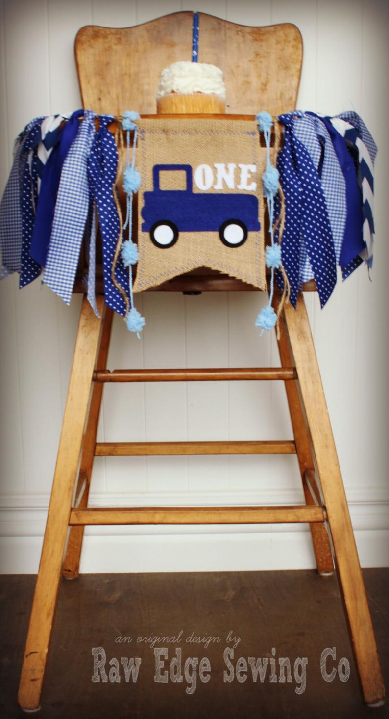 Blue Truck Highchair Banner 1st Birthday Party Decoration - Raw Edge Sewing Co