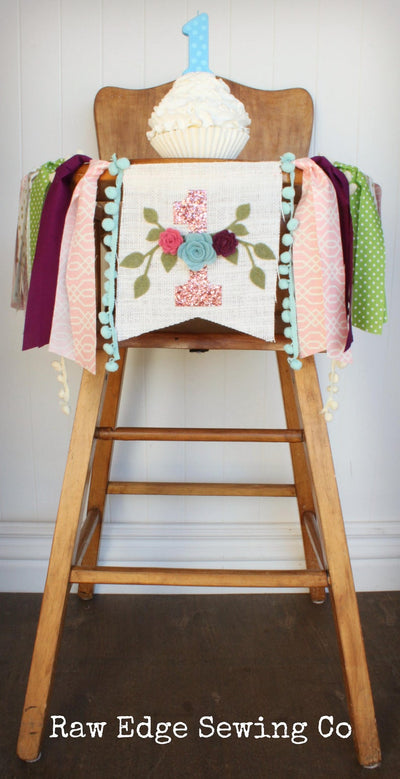 Floral Highchair Banner 1st Birthday Party Decoration - Raw Edge Sewing Co