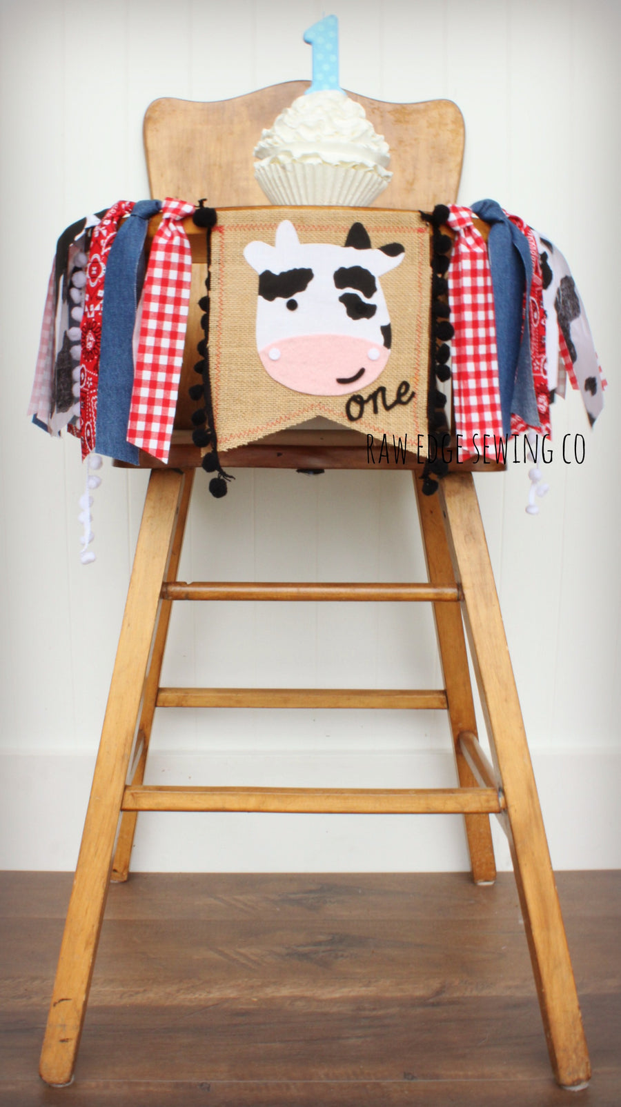 Twins Farm Highchair Banner 1st Birthday Party Decoration - Raw Edge Sewing Co