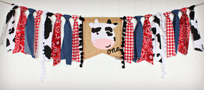 Farm Highchair Banner 1st Birthday Party Decoration - Raw Edge Sewing Co
