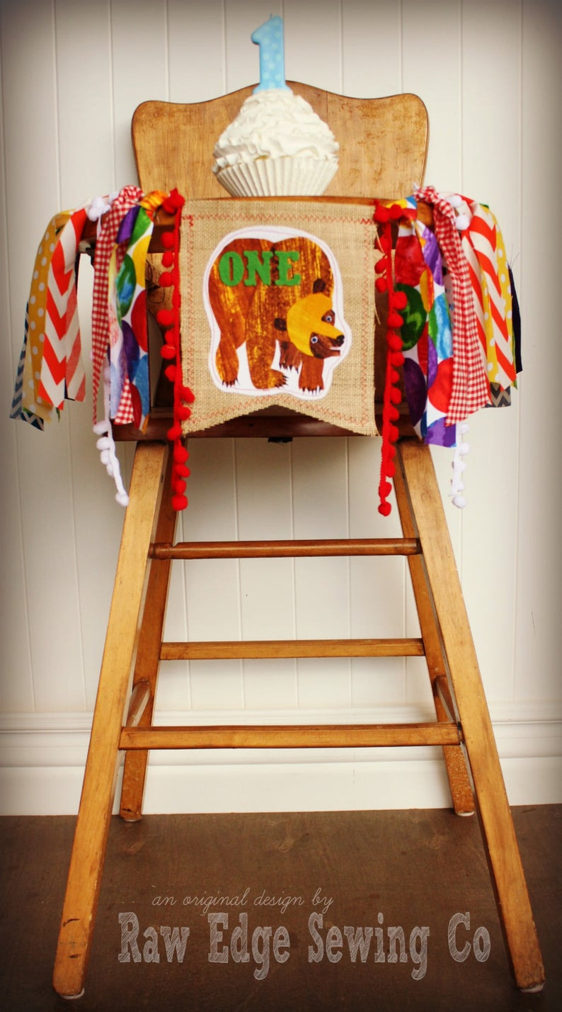 Brown Bear Highchair Banner 1st Birthday Party Decoration
