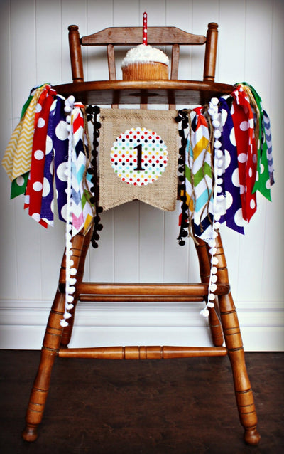 Brown Bear Highchair Banner 1st Birthday Party Decoration - Raw Edge Sewing Co