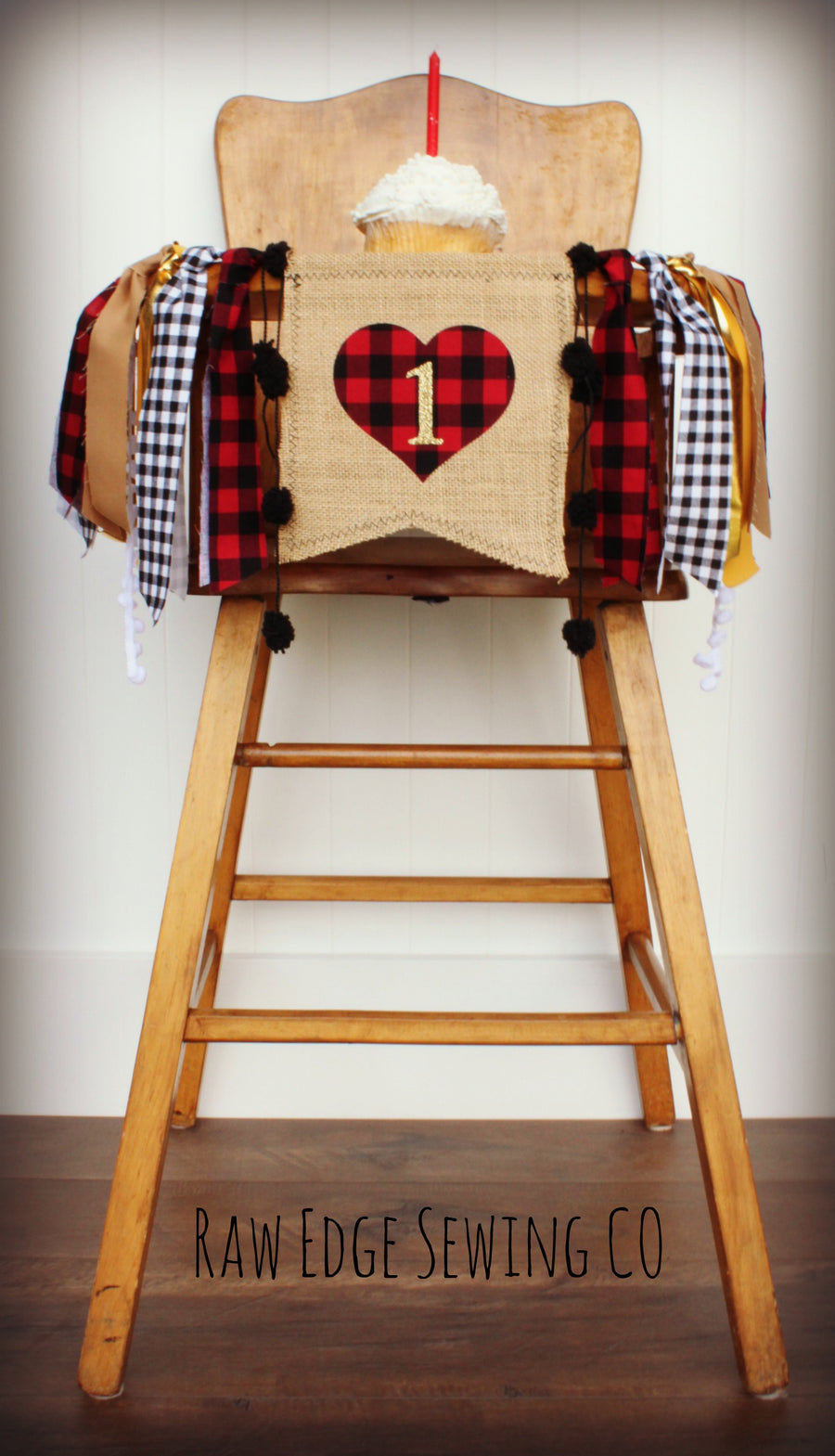 Valentine Buffalo Plaid Heart Highchair Banner 1st Birthday Party Decoration - Raw Edge Sewing Co
