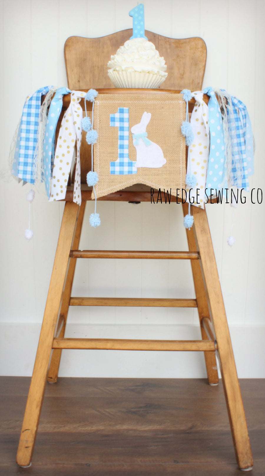 Bunny Highchair Banner 1st Birthday Party Decoration - Raw Edge Sewing Co