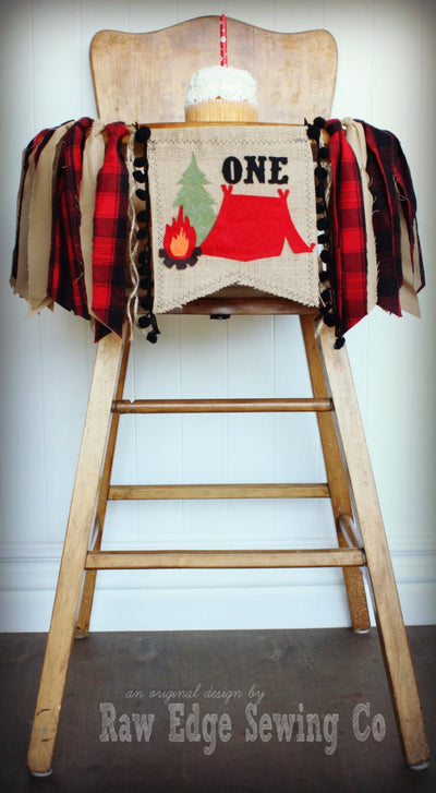 Camping Highchair Banner 1st Birthday Party Decoration - Raw Edge Sewing Co