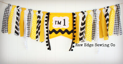 Charlie Brown Highchair Banner 1st Birthday Party Decoration - Raw Edge Sewing Co
