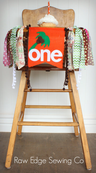 Chicka Boom Highchair Banner 1st Birthday Party Decoration - Raw Edge Sewing Co