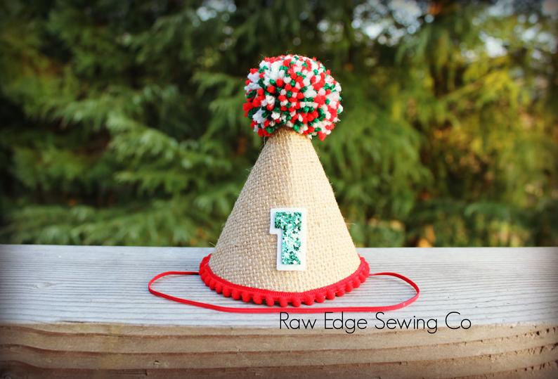 Christmas Hat First Birthday - Raw Edge Sewing Co