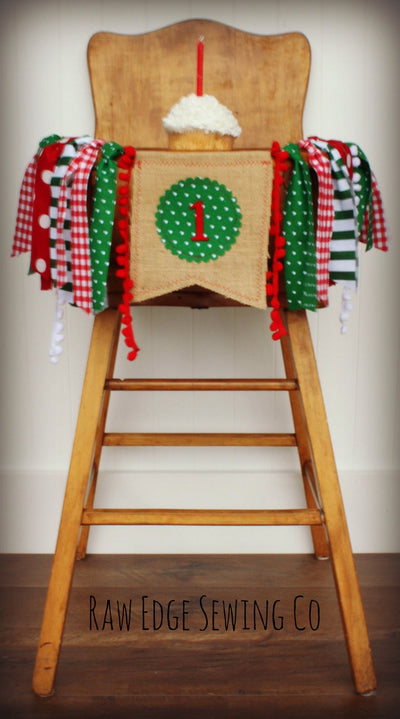 Christmas Highchair Banner 1st Birthday Party Decoration - Raw Edge Sewing Co